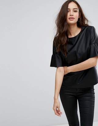 Only Leather Look Top With Ruffle Sleeves