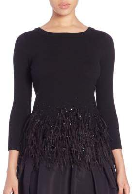 Carolina Herrera Icon Collection Embellished Ostrich Feather Trim Top