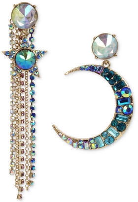 Betsey Johnson Gold-Tone Multi-Stone Moon, Star & Chain Mismatch Earrings