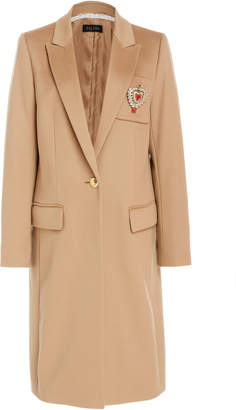 Escada Mindsor Virgin Wool Tailored Coat With Heart Pin