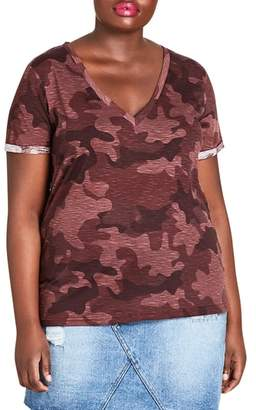 City Chic Ruby Camouflage Top