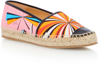 Emilio Pucci Leather-Trimmed Printed Canvas Espadrilles $390 thestylecure.com