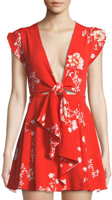 Haute Rogue Cassidy Floral-Print Tie-Front Mini Wrap Dress