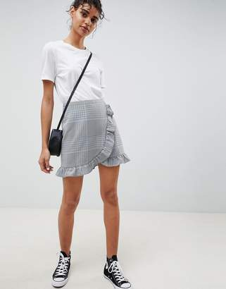 Asos Design DESIGN tailored check mini skirt with ruffle
