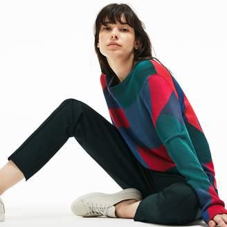 Lacoste Women's Crew Neck Colorblock Print Jacquard Sweater