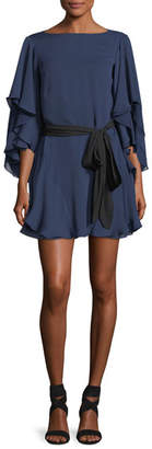 Halston Flutter-Sleeve Shift Cocktail Dress w/ Sash