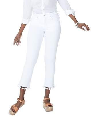 NYDJ Sheri Tassel-Trim Slim Ankle Jeans in Optic White