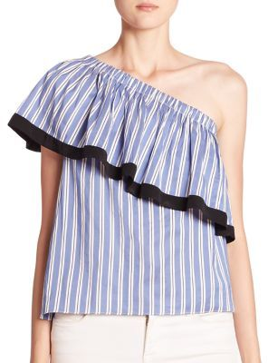 MILLY Cotton & Silk One-Shoulder Striped Top $295 thestylecure.com