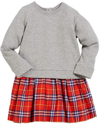 Burberry Francine Sweatshirt & Plaid Skirt Dress, Size 4-14