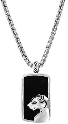 Effy Mens Sterling Silver Onyx Dog Tag Necklace