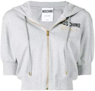 Moschino embroidery cropped hoodie