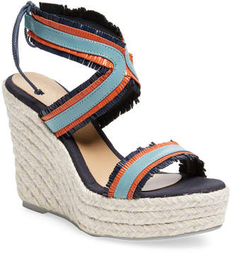 Manebi Leather Espadrille Wedge Sandal
