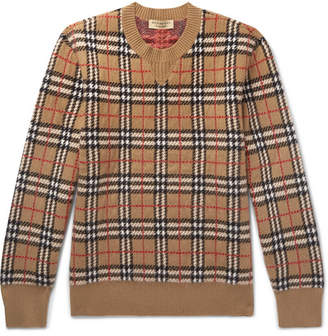 Burberry Checked Brushed-Cashmere Sweater