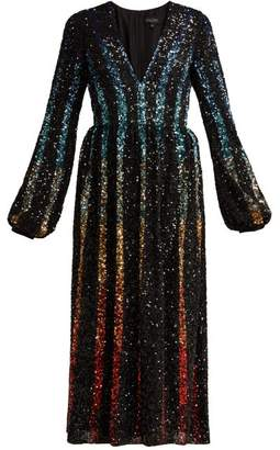 Saloni Camille Gradient Sequinned Dress - Womens - Black Multi