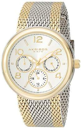 Akribos XXIV Women's Quartz Watch with Silver Dial Analogue Display and Gold Stainless Steel Bracelet AK559YG