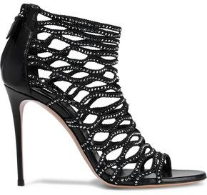 Casadei Duse Crystal-Embellished Woven And Leather Sandals