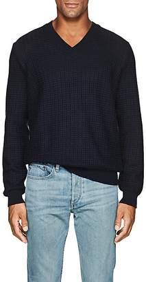 Barneys New York Men's Textured-Knit Cotton V-Neck Sweater - Blue