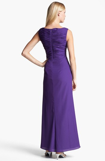 Patra Embellished Ruched Crepe Gown