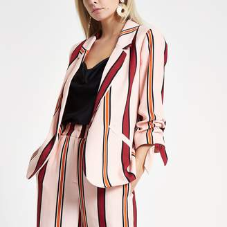1f4d7aa2969ea River Island Womens Petite Pink striped ruched sleeve blazer
