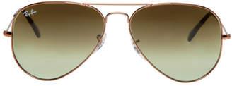 Ray-Ban Bronze and Green Gradient Aviator Sunglasses