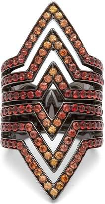 LYNN BAN Vice sapphire & rhodium-plated ring