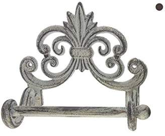 "Comfify Fleur De Lis Cast Iron Toilet Paper Roll Holder - Cast Iron Wall Mounted Toilet Tissue Holder - European Vintage Design - 6.75"" x 6.25"" x 4.25"" - with Screws and Anchors (Antique White)"