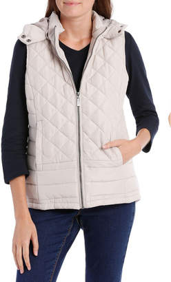 Quilted Vest With Removable Hood-Col Tbc