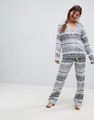 b2c2048fed Asos Tall DESIGN christmas fairisle traditional wide leg pyjama set in 100%  modal
