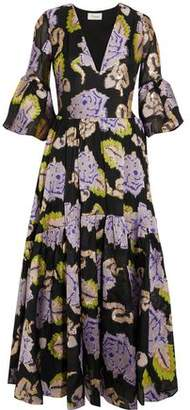 Temperley London Floral-Print Metallic Fil Coupé Woven Midi Dress