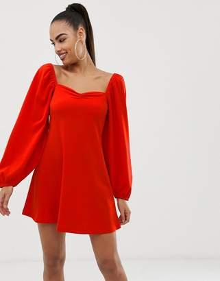 Asos DESIGN mini dress with sweetheart neck in scuba crepe