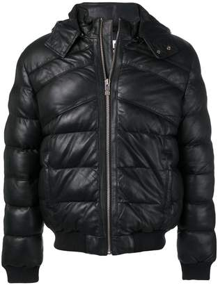 Les Hommes leather puffer jacket