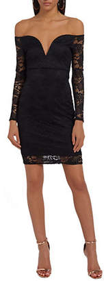 Missguided Bardot Off-the-Shoulder Mini Lace Dress