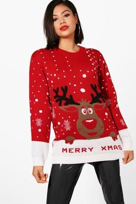 boohoo Hannah I Love Xmas Reindeer Christmas Jumper
