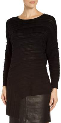 St. John Asymmetrical Plisse Knit Sweater