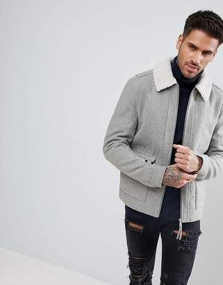 New Look Wool Aviator Jacket With Fleece Collar In Gray