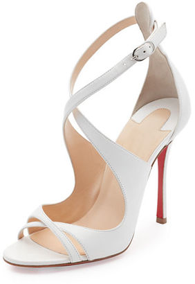 Christian Louboutin Malefissima Crisscross 100mm Red Sole Sandal $945 thestylecure.com