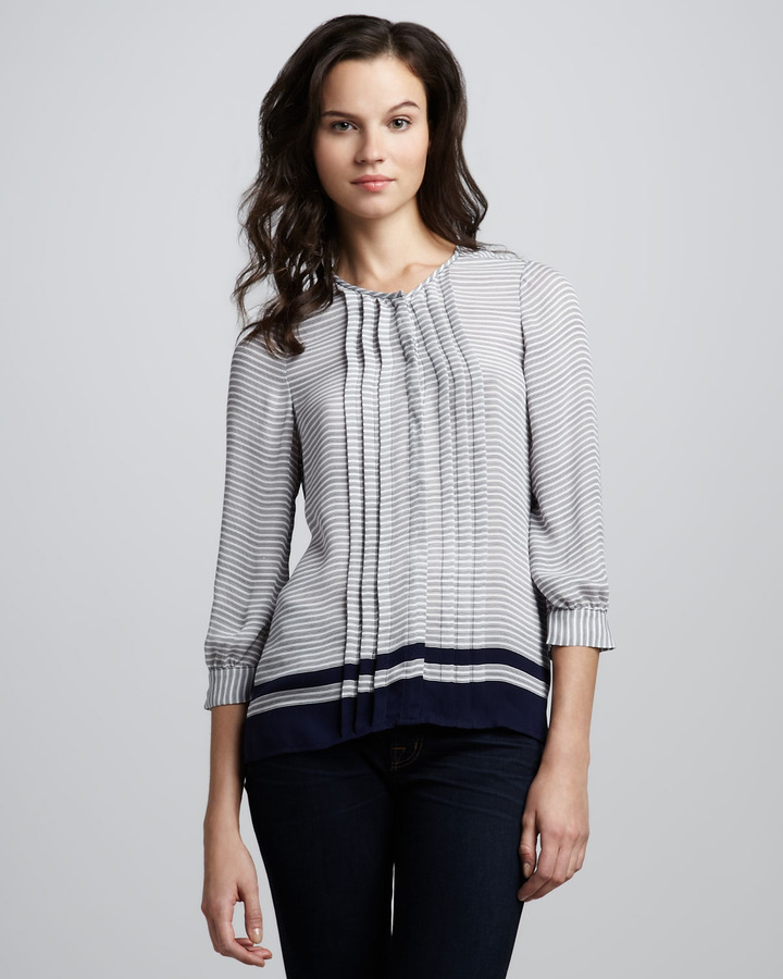 Joie Modine Striped Pintuck Blouse