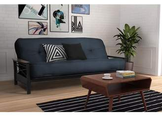 DHP Nadine Black Metal Futon Frame with Coil Full Futon Mattress, Multiple Colors and Sizes