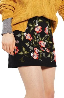 Women's Topshop Ivy Flower Embroidered Skirt $68 thestylecure.com