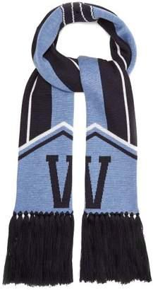 Versace Logo Intarsia Wool Scarf - Womens - Blue