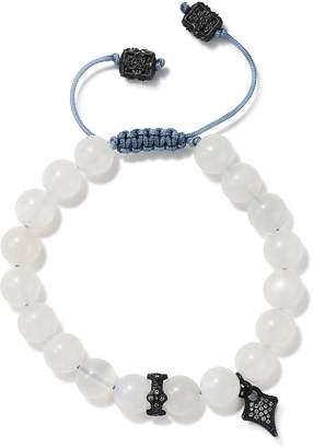Armenta Blackened Sterling Silver Old World Pave Champagne Diamond & Moonstone Beaded Bracelet