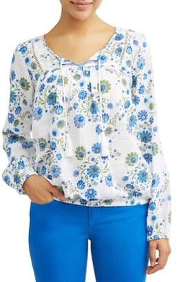 Sofia Jeans by Sofia Vergara Boho Peasant Tassel Longsleeve Top Women's (Floral Print)