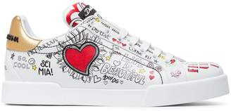 Dolce & Gabbana White Graffiti Heart Print Leather Sneakers