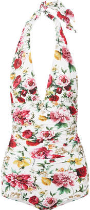 Dolce & Gabbana Ruched Floral-print Halterneck Swimsuit - White
