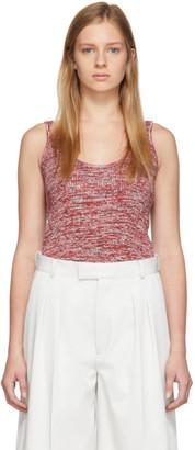 Bottega Veneta Red and White Knit Pattern Tank Top