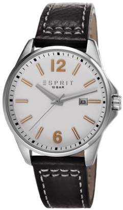 Esprit Tallac Day Men's Quartz Watch with White Dial Analogue Display and Black Leather Strap ES106911003