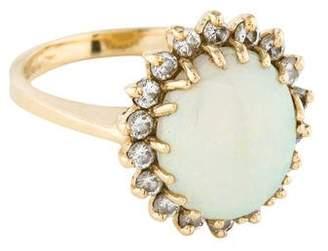 Ring 14K Opal & Diamond Cocktail