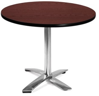 "OFM Model FT36RD 36"" Round Flip-Top Multi-Purpose Table, Mahogany"