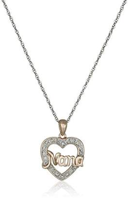 Rose Gold Plated Sterling Silver Nana Heart Diamond Accent Pendant Necklace