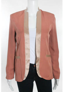 Haute Hippie Blush Pink Silk Satin Trim Open Jacket Blazer Sz 0 #140327